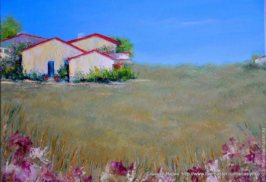 Картина маслом. Степной пейзаж с домиками.