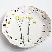 Посуда ручной работы. Ярмарка Мастеров - ручная работа Керамическая тарелочка Луговые цветы. Авторская керамика ручной работы. Handmade.