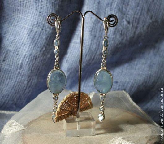 Серьги ручной работы. Ярмарка Мастеров - ручная работа. Купить Голубые льдинки. Handmade. Голубой, топаз, серьги длинные