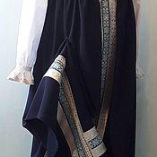 Народные костюмы ручной работы. Ярмарка Мастеров - ручная работа Костюм народный женский синий с серебром, сарафан и рубаха. Handmade.