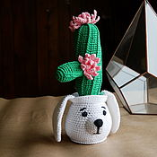 Для дома и интерьера handmade. Livemaster - original item Cactus in a pot in the form of a puppy. Blooms all year round. Handmade.