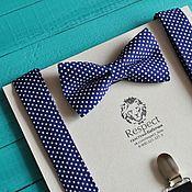 """Аксессуары ручной работы. Ярмарка Мастеров - ручная работа Темно синяя галстук бабочка в горошек + подтяжки """"В тренде"""". Handmade."""