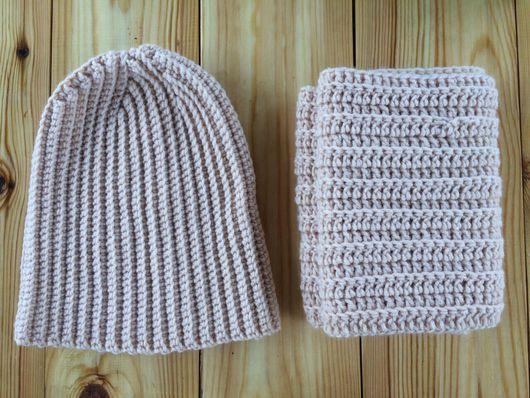Шапки ручной работы. Ярмарка Мастеров - ручная работа. Купить Комплект: шапка- бини+ снуд в два оборота. Handmade.