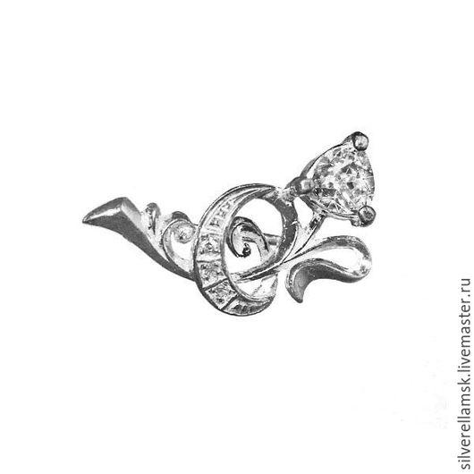 """Броши ручной работы. Ярмарка Мастеров - ручная работа. Купить Серебряная брошь с фианитами """"Цветок"""" (серебро 925) USC005. Handmade."""