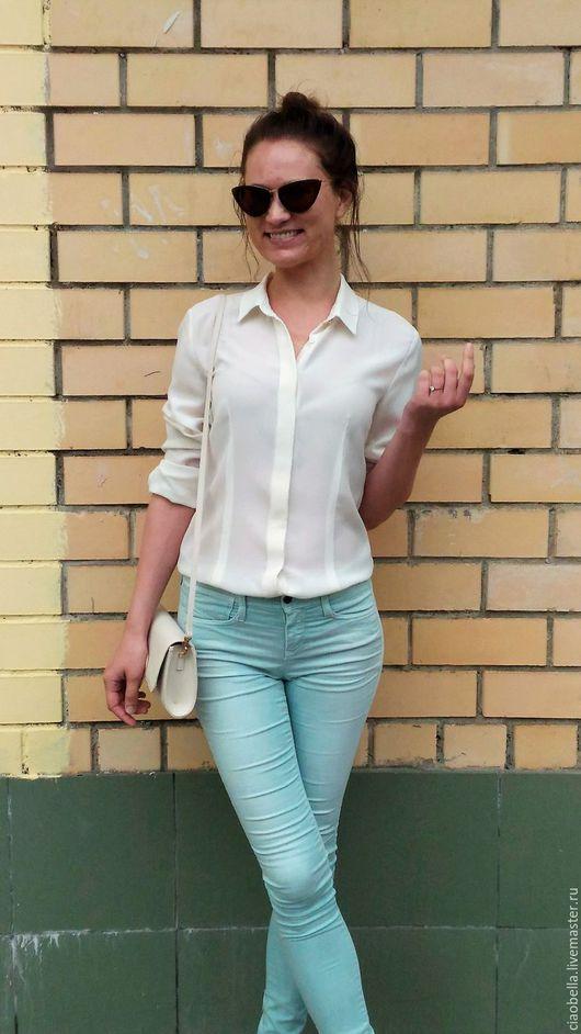 """Блузки ручной работы. Ярмарка Мастеров - ручная работа. Купить Рубашка  из шелка """"Pure silk"""". Handmade. Белый"""