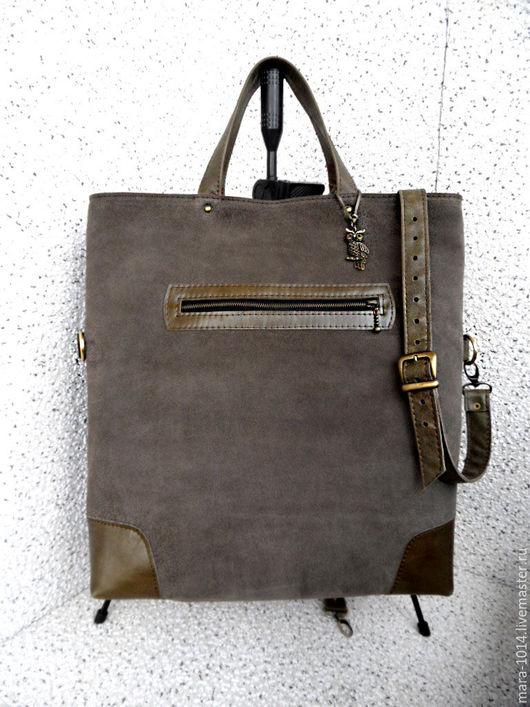 Женские сумки ручной работы. Ярмарка Мастеров - ручная работа. Купить Комбинированная сумка из кожи и замши, оливковая. Handmade. Хаки