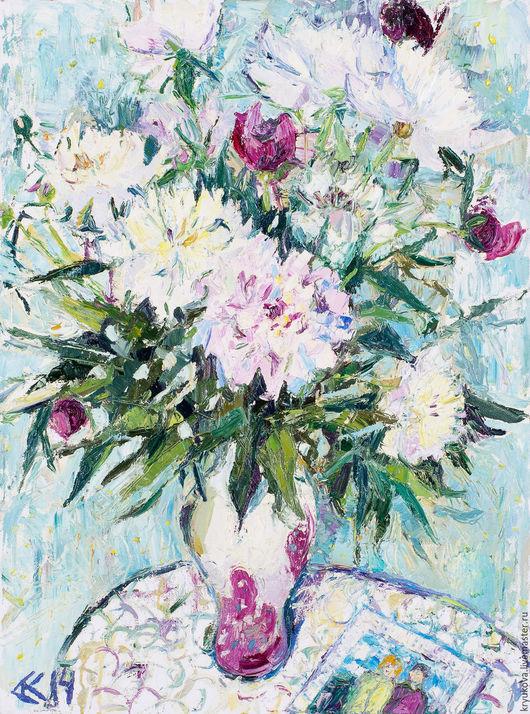 Картина с цветами маслом Пора пионов Букет пионов маслом Пионы Летний букет картина маслом Белые розовые пионы Пионы картина