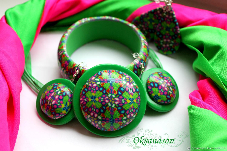Jewelry sets: Bracelet, earrings, kaleidoscope green pendant, Jewelry Sets, Moscow,  Фото №1
