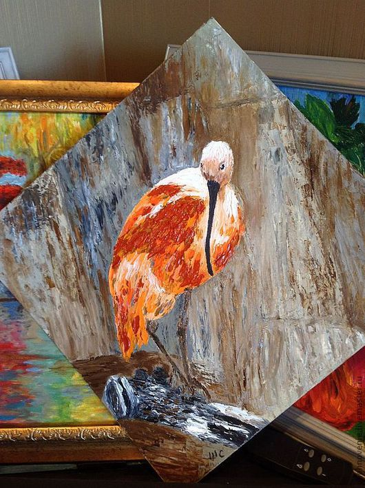 Животные ручной работы. Ярмарка Мастеров - ручная работа. Купить Птичка. Handmade. Оранжевый, картина для интерьера, птичка на ветке, животное