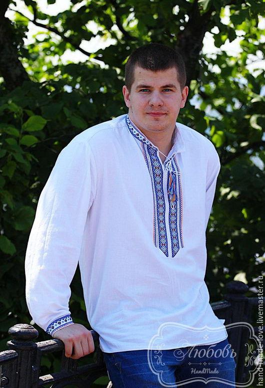 Этническая одежда ручной работы. Ярмарка Мастеров - ручная работа. Купить Вышиванка мужская ручная работа. Handmade. Белый, Вышиванка