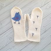 Аксессуары handmade. Livemaster - original item Mittens knitted, felted blue bird. Handmade.