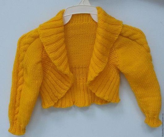 Одежда для девочек, ручной работы. Ярмарка Мастеров - ручная работа. Купить Болеро. Handmade. Желтый, спицы, спицы