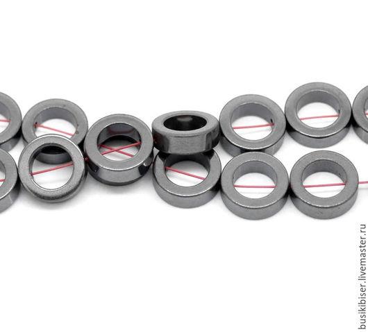 Бусины из гематита `кольца` 12мм.
