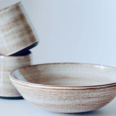 Посуда ручной работы. Ярмарка Мастеров - ручная работа Салатник и стаканы Капучино. Handmade.