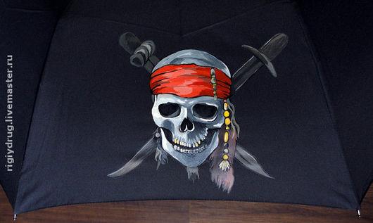 Зонты ручной работы. Ярмарка Мастеров - ручная работа. Купить Зонт Пиратский. Handmade. Зонт, роспись зонта, море