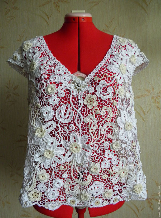 Блузки ручной работы. Ярмарка Мастеров - ручная работа. Купить Кружевная Блуза Белые цветы Ирландское кружево вязаная. Handmade.