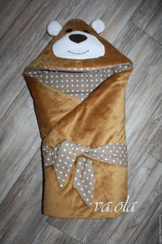 Для новорожденных, ручной работы. Ярмарка Мастеров - ручная работа. Купить Одеяло конверт для новорожденного. Handmade. Коричневый, в коляску, утеплитель