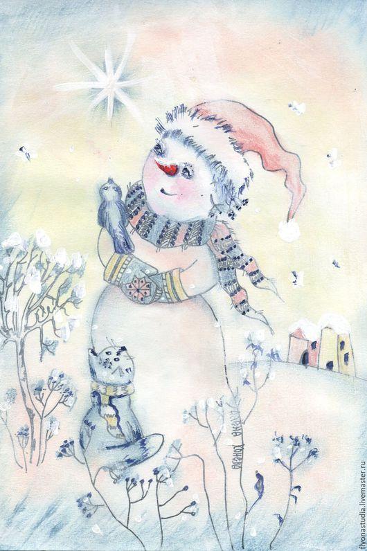 Яркая звезда. Зимняя сказочная картина акрилом. Снеговик, кот и птичка. Подарок на Рождество и Новый год Сказка в теплоте рук Алёны Коневой