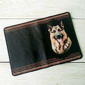 Для домашних животных, handmade. Livemaster - original item Passport cover for pet dog genuine leather black. Handmade.