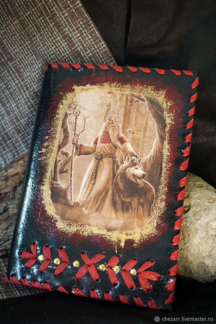 Notebook in a leather cover Velez with a wolf, Notebooks, Chelyabinsk,  Фото №1