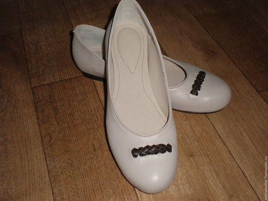 Обувь ручной работы. Ярмарка Мастеров - ручная работа. Купить Балетки. Handmade. Бежевый, обувь на заказ