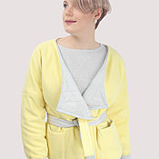 Одежда handmade. Livemaster - original item Jacket coat yellow wool and grey stitch. Handmade.