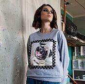 """Одежда ручной работы. Ярмарка Мастеров - ручная работа Теплая одежда.Свитшот.Кофта.""""Собака-Мопс"""". Handmade."""
