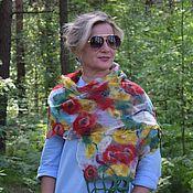 Аксессуары handmade. Livemaster - original item Felted Floral waltz scarf, air silk scarf. Handmade.