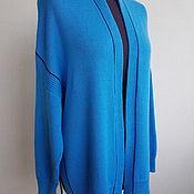 Одежда handmade. Livemaster - original item Turquoise cardigan with dark blue stripe in Cariaggi cashmere. Handmade.