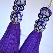 Украшения handmade. Livemaster - original item Soutache jewelry earrings purple brush. Handmade.