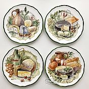 Посуда handmade. Livemaster - original item Painted porcelain Plate Cheese Collection on the wall.. Handmade.