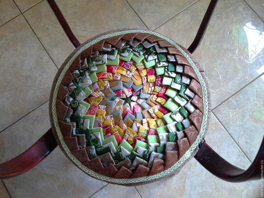 Текстиль, ковры ручной работы. Ярмарка Мастеров - ручная работа. Купить Лоскутная сидушка Колючий цветок. Handmade. Сидушка, для кухни
