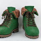 """Обувь ручной работы. Ярмарка Мастеров - ручная работа Ботинки из войлока """"Green Flash"""". Handmade."""