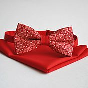 Аксессуары handmade. Livemaster - original item Red tie Retro circles red handkerchief in his jacket pocket. Handmade.