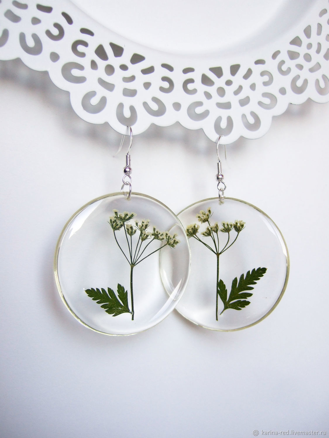 Transparent Earrings with an Annual plant of the Umbrella family Eco Boho, Earrings, Taganrog,  Фото №1