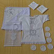 Работы для детей, ручной работы. Ярмарка Мастеров - ручная работа Крестильный набор для мальчика именной -белый. Handmade.