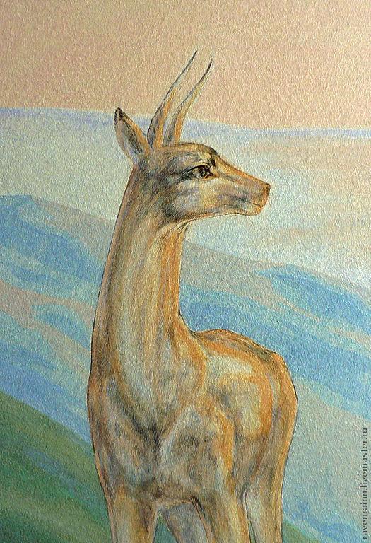 Пейзаж ручной работы. Ярмарка Мастеров - ручная работа. Купить роспись стены Далёкие Холмы. Handmade. Пейзаж, животные, рассвет
