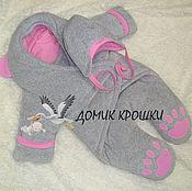 """Работы для детей, ручной работы. Ярмарка Мастеров - ручная работа Комбинезон-конверт для новорожденного """"Мишка"""" Серо-Розовый. Handmade."""