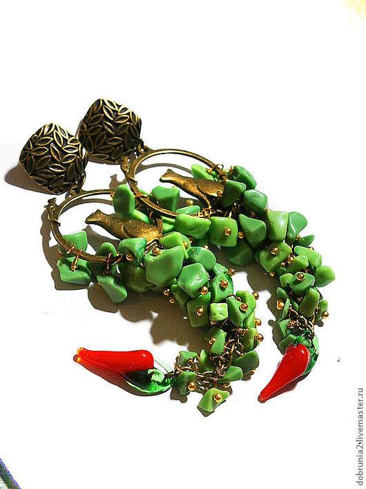"""Серьги ручной работы. Ярмарка Мастеров - ручная работа. Купить Серьги """"Приворотное зелье"""". Handmade. Зеленый, лэмпворк"""