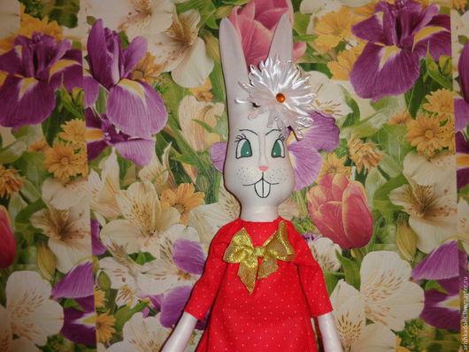 Игрушки животные, ручной работы. Ярмарка Мастеров - ручная работа. Купить Кролик  девочка. Handmade. Комбинированный, красное платье