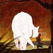 Картины ручной работы. Ярмарка Мастеров - ручная работа Девочка и Белая кошка. (октябрь)   авторский принт. Handmade.
