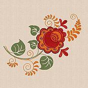 Материалы для творчества handmade. Livemaster - original item Flowers khokhloma Embroidery Design satin stitch hoop size 14 x 20 cm. Handmade.