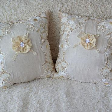 Текстиль ручной работы. Ярмарка Мастеров - ручная работа Комплект 2  Наволочки для подушек в стиле шебби шик  с кружевами. Handmade.