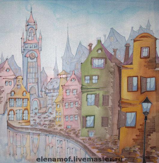 Город ручной работы. Ярмарка Мастеров - ручная работа. Купить Панно Амстердам. Handmade. Панно, Батик, городская тема, город