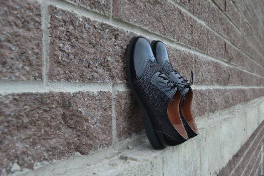Обувь ручной работы. Ярмарка Мастеров - ручная работа. Купить Оксфорд мужской комбинированный. Handmade. Черный, удобная обувь