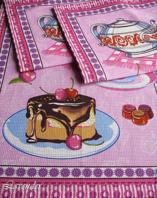 Полотенце вафельное. Ярмарка мастеров. Полотенце для кухни. Торт, конфеты, чай.. Полотенце яркое розовое. Текстиль для кухни.