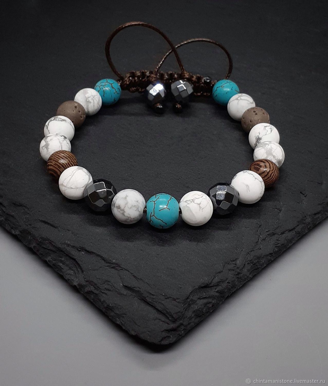 Pulsera de hombre de caholong, lava volcánica, Bead bracelet, Moscow,  Фото №1