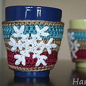 Подарки к праздникам ручной работы. Ярмарка Мастеров - ручная работа Грелки для кружки 2шт Снежинка 2. Handmade.