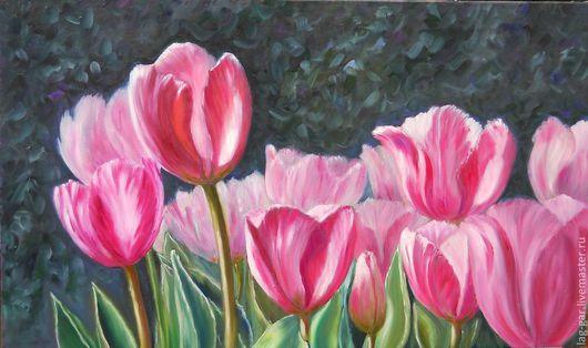 """Картины цветов ручной работы. Ярмарка Мастеров - ручная работа. Купить Картина маслом """"Тюльпаны"""". Handmade. Розовый, цветы, масло"""