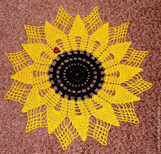 салфетка `Подсолнух`, материал салфетки - мерсеризованный хлопок, вязание крючком, диаметр - 30 см, цена - 200 руб.